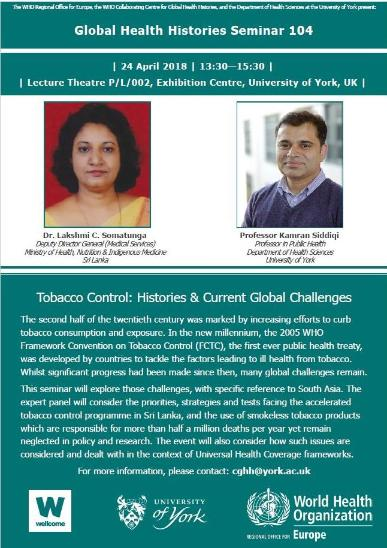 GHH 104 Tobacco Control: Histories & Current Global Challenges