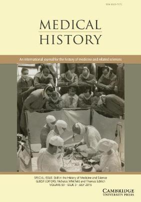 Medical History Special Issue Skill in the History of Medicine and Science Cover