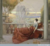 A sickly female invalid sits covered up on a balcony overlooking a beautiful view, death (a ghostly skeleton clenching a scythe and an hourglass) is standing next to her; representing tuberculosis. Watercolour by R. Cooper.