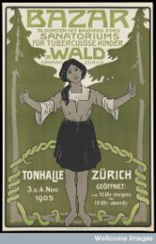 A girl with tuberculosis appealing for funds for a sanatorium for tuberculous children in Zürich. Colour lithograph after H.C. Ulrich, 1905. © Wellcome Library, London