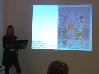 Lunchtime talk on the Tillotson Hyde Collection of Drawings and Illustrations at York Art Gallery, with Marjorie Miller's 'Feeding Winter Birds' on the slide