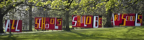 Bob and Roberta Smith, All Schools Should be Art Schools, 2017.  Courtesy the artist and Yorkshire Sculpture Park.  Photo (c)Jonty Wilde
