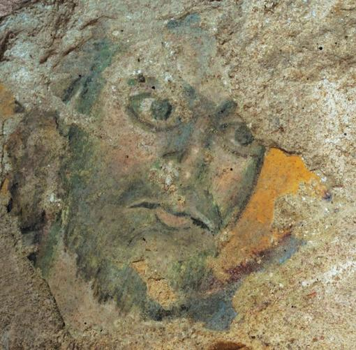 Wall painting of a male head, Beavais Cathedral c.1000