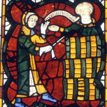 Money transaction with barrels, stained glass panel, 14th-century, York Minster Nave