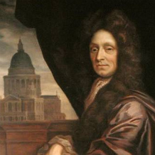 Sir Christopher Wren (1632-1723) copied by Edmund Dyer (detail), oil on canvas, by Sir Godfrey Kneller