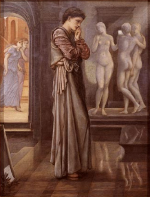 The Heart Desires, Pygmalion and the Image I, oil on canvas 1875-8, 39 x 30 inches, by Sir Edward Coley Burne-Jones Bt ARA