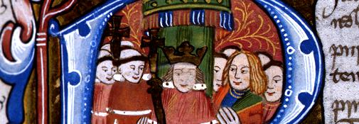 Illumination of the king in parliament, 15th century (courtesy of the National Archives)