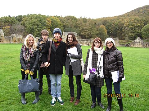A group of upper level students at Mount Grace Priory during Helen's Architecture, Gender & Sexuality module.