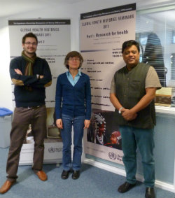 Dr Alex Medcalf, Dr Monica Saavedra and Professor Sanjoy Bhattacharya at the Centre for Global Health Histories