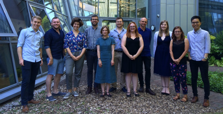 HRC doctoral fellows 2018.  L-R: James Tompkinson, Liam Maloney, Madeline Boden, Keith Allen (HRC Deputy Director), Kate Giles (HRC Acting Director), Jamie Cawthra, L Meghan Dennis, Richard Kearns, Rebecca Searby, Hannah Jeans, Antony Pak-Hang Huen.