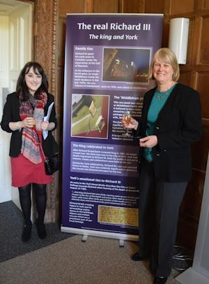 "Harriet Beadnell with Professor Debbie Smith, ""Party for Will"" exhibition at Heslington Hall, 2015 (c) Humanities Research Centre, University of York"