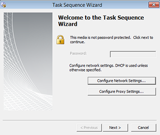 Task Sequence Wizard with option to configure network settings