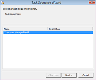 Select a task sequence to run