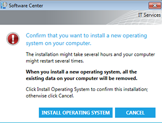 Confirm that you want to install a new operating system on your computer