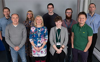 Left to right: Simon Craft, Chris Gowland, Jo Loftus, Tamsyn Quormby, Chris Johnson, Helen Parker, Ben Greenwood, John Campbell and Karl Cousins.