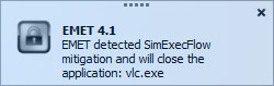 EMET pop up notification for managed Windows desktop changes