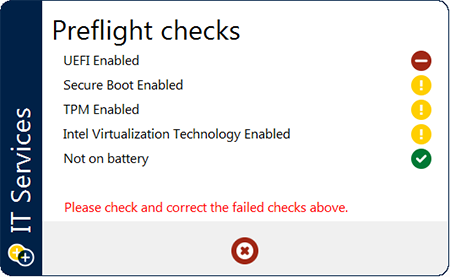 Image of a preflight checks result screen, shown as part of the Windows installation process.