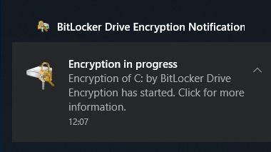 Image of a screen prompt showing that encryption is underway.