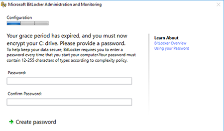 Image of a screen prompting password creation for encryption.