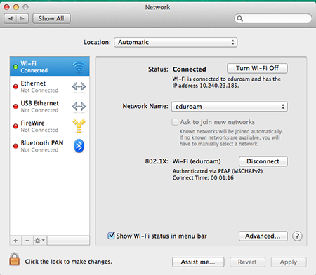 Select Advanced in the network window