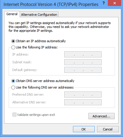 "Set DNS to ""Obtain DNS server address automatically"""