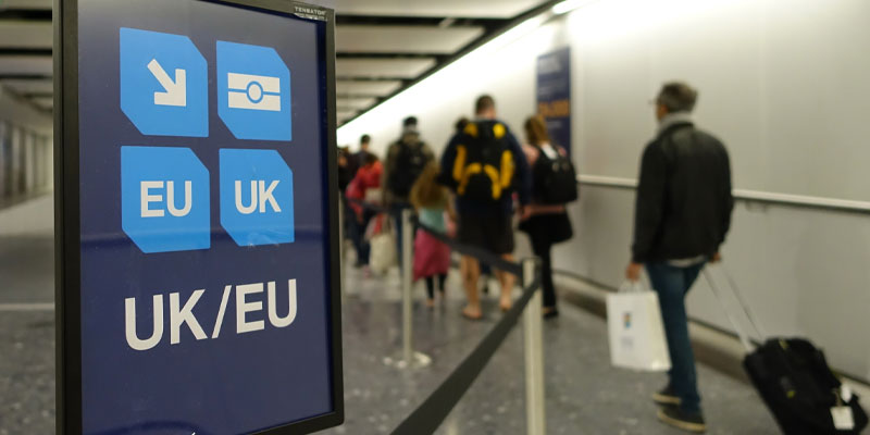 Airport sign for passport control for UK and EU passports.