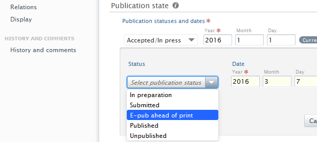 PURE Publication State add Published Date screenshot