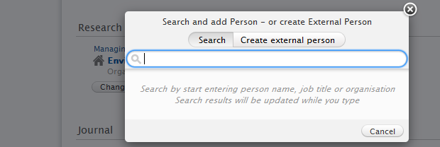 PURE Authors choose Add Person screenshot