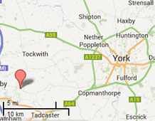 Map showing distance from York to Boston Spa (16 miles)