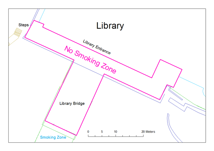 Map of the no smoking zone outside the Library