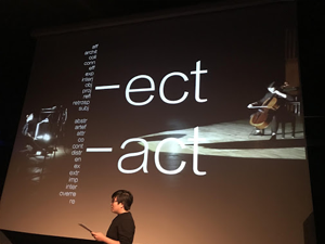 Lynette Quek presenting the ideas behind -ect -act
