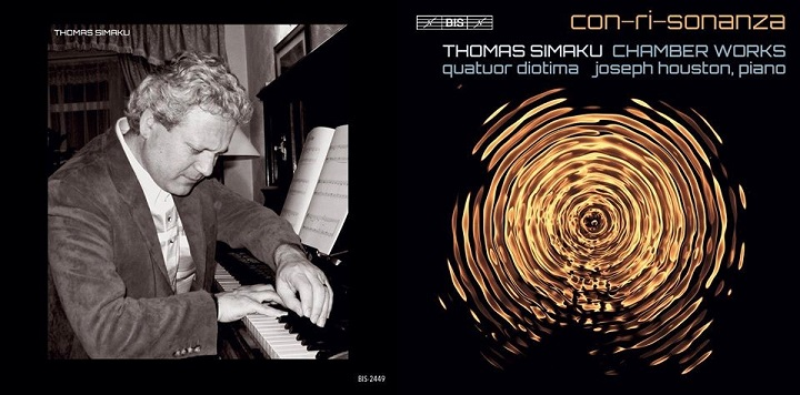 Photo of Thomas Simaku playing the piano, and an image from the cover of his 2020 album con-ri-sonanza
