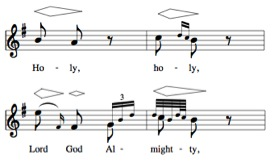 Ex. 1.  Messa di voce in Handel's, 'Holy Lord God Almighty' (Nathan 1836, 187).