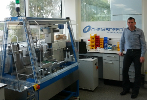 Professor Ian Fairlamb with the ChemSpeed equipment
