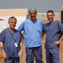 Bill Clucas (centre) with other members of the international team working in Sierra Leone
