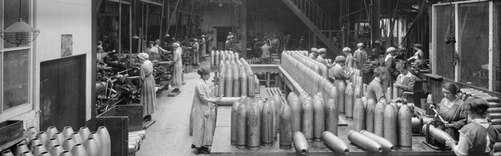 Female workers at the Cunard Shell Works, Bootle, 1917 (Ref: BL24001/037) Reproduced by permission of English Heritage