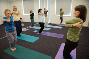 Yoga class for people with low back pain. Photo by Ian Martindale
