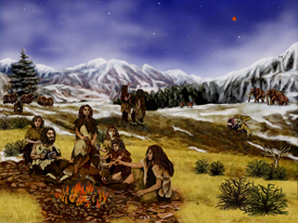 Neanderthals - Artist's rendition of Earth approximately 60,000 years ago (artist: Randii Oliver) via Creative Commons