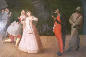 An image of a commedia dell'arte troupe by Gelosi, held by the Carnavelet
