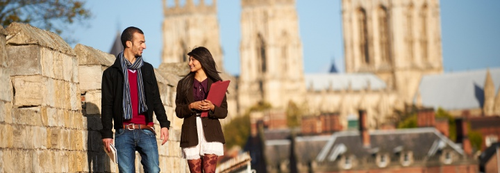 University of York students on city walls