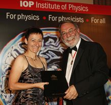 Dr Irene D'Amico from the University's Department of Physics was presented with the Juno Champion award by Professor Sir Peter Knight, President of the Institute of Physics. Photo courtesy of the IOP.