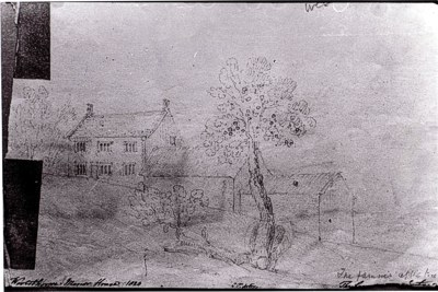 Charles Turnor drawing of the apple tree showing its position with respect to the manor house