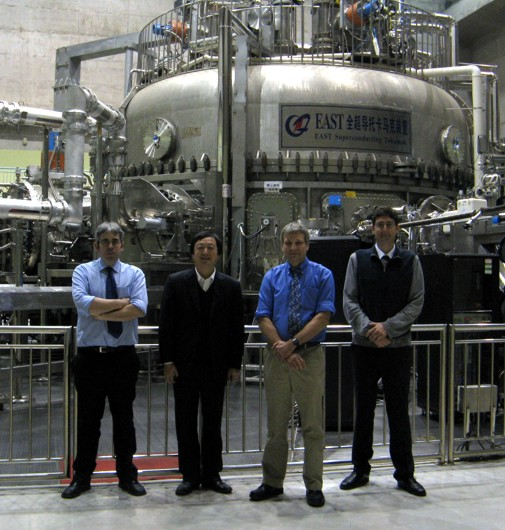 Prof Howard Wilson, Dr Kieran Gibson and Dr Ben Dudson with lab director Jiangang Li at the EAST tokamak in Hefei, China