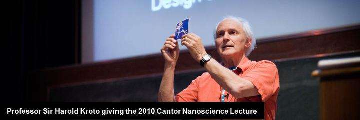 Professor Sir Harold Kroto giving the 2010 Cantor Nanoscience Lecture