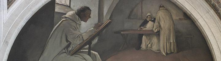 East Corridor, Great Hall. Manuscript Book mural in Evolution of the Book series, John White Alexander.