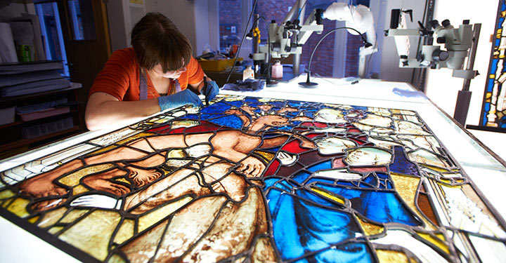 Painstaking stained glass preservation work in progress (Credit: John Houlihan)