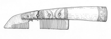 An ornate handled comb found in excavations in York. Drawing by Nick Griffiths