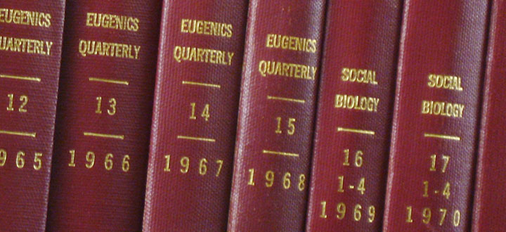 Journal bindings showing the point at which 'Eugenics Quarterly' was renamed 'Social Biology' in 1969.