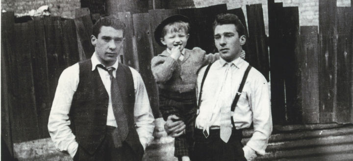 Ronnie (left) and Reggie Kray with nephew Gary (centre) in Bethnal Green, London featured in the book The Krays From the Cradle to the Grave.  PHOTOGRAPH: Barcroft Media