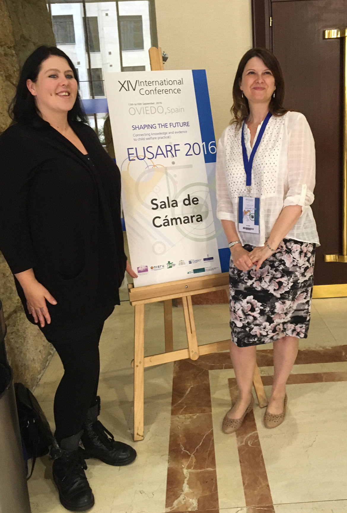 Jo Dixon and Jade ward with poster at EUSARF conference